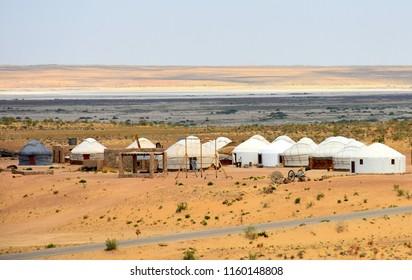 yurts in the desert in Uzbekistan