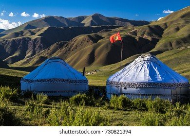 Yurts in Kyrgyzstan. Evening near lake..