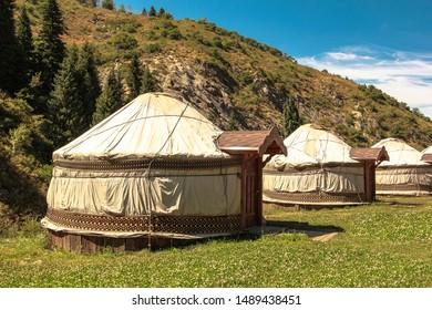 Yurts in the mountains, Kazakhstan