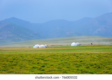 Yurts, typical nomad houses by the Song Kul lake, Kyrgyzstan