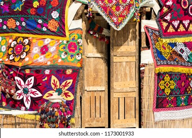 Yurts in Uzbekistan, traditional crafts and patterns.