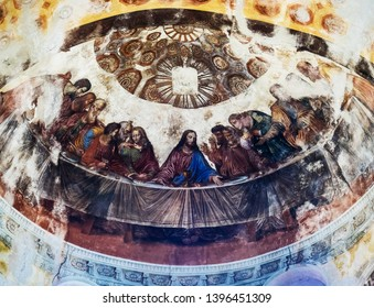Yuryev-Polsky city, Vladimir region, Russia. Michael the Archangel monastery. Vintage Last Supper fresco fragment