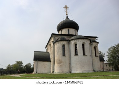 YURYEV-POLSKY, VLADIMIR OBLAST / RUSSIA - JULY 28 2018: St. George's Cathedral in old russian town Yuryev-Polsky. Golden Ring of Russia.