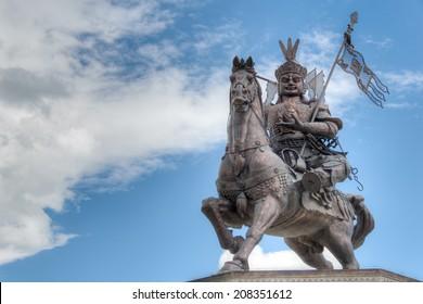 YUSHU(JYEKUNDO), CHINA - Jul 12 2014: King Gesar statue. a famous landmark in the Tibetan city of Yushu, Qinghai, China.