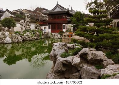 Yuyuan Garden, a traditional garden in the Jiangnan style.