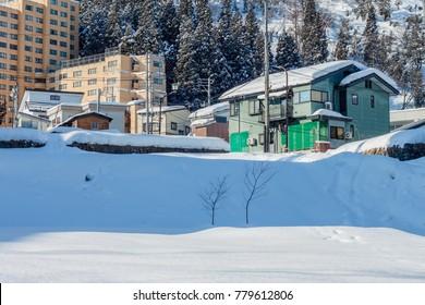 YUZAWA, JAPAN - February 8,2016 : Yuzawa town in winter season, There are a large number of ski resorts in the area, located in Minamiuonuma District,Niigata Prefecture, Japan