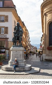 Yverdon-les-Bains, Switzerland - 5.Sept. 2018: The monument commemorates the famous Swiss educator Johann Heinrich Pestalozzi. This is seen in the town square - Image
