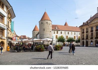 Yverdon-les-Bains, Switzerland - 5.Sept. 2018:Pestalozzi Square, Yverdon-les-Bains, Switzerland - Image