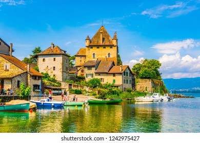 YVOIRE, FRANCE, JULY 21, 2017: Lakeside view of Castle in French city Yvoire
