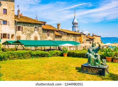 YVOIRE, France, JULY 21, 2017: Statue of Voltaire in French city Yvoire
