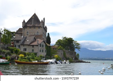 Yvoire, France - JULY 21, 2017: View of old Castle in French city Yvoire.
