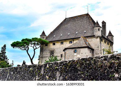 YVOIRE, FRANCE View of the Yvoire Castle in the medieval village of Yvoire on the shore of Lake LEMAN in Haute-Savoie, France.