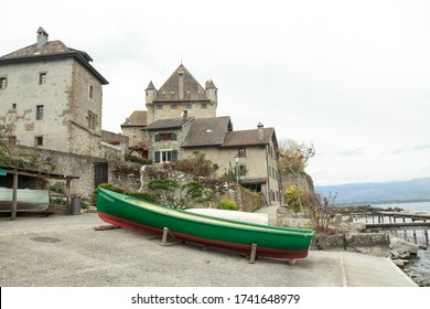 Yvoire, Haute-Savoie/France; April 16 2019: A boat in the downtown, next to Lake Leman