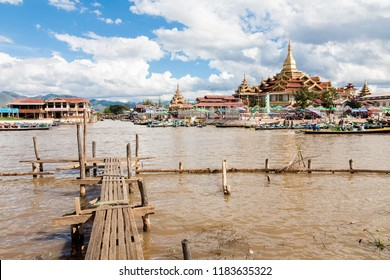 Ywama, Myanmar - 2017, January 5 : The Phaung Daw Oo Pagoda, a religious site in the village of Ywama on the west side of the Inle Lake in the Shan state of central Myanmar