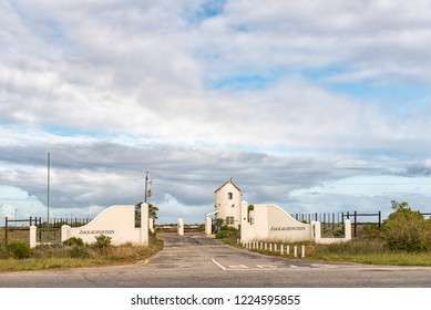 YZERFONTEIN, SOUTH AFRICA, AUGUST 20, 2018: The entrance to Jakkalsfontein Private Nature Reserve next to road R27 near Yzerfontein on the Atlantic Ocean coast in the Western Cape Province