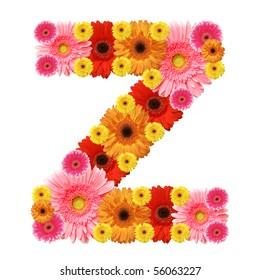 Z, flower alphabet isolated on white