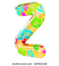 """Z"" letter shaped inflatable swim ring, 3d rendering"