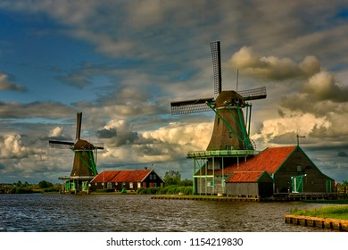 Zaandam, Holland, an old mill nowadays as a historic mill for tourists
