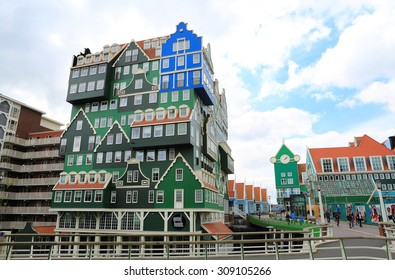 ZAANDAM, NETHERLANDS - APR 19: Inntel Hotel on 19 Apr 2015 in Zaandam, NL. Opened in 2009, the design attracts guests by incorporating the traditional architecture of the Zaan region.