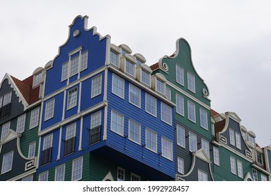 Zaandam, The Netherlands - June 08, 2019; Detail of the Inntel hotel, a colorful stack of seventy Zaan houses in the center of Zaandam