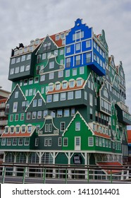 Zaandam, Netherlands - May 24 2019:  a colorful and unique structure of the Inntel hotel in Zaandam.