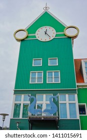 Zaandam, Netherlands - May 24 2019:  An old and colorful clock tower above Zaandam railroad station.