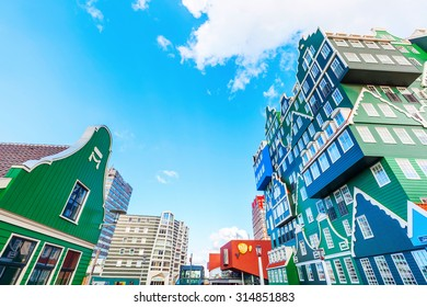 ZAANDAM, NETHERLANDS - SEPTEMBER 02, 2015: unique Inntel Hotel Zaandam.  The structure is a lively stacking of various examples of traditional houses found in the Zaan region