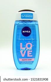 Zaandam, the Netherlands - September 28, 2019: Bottle Nivea caring shower gel love aquatic scent.