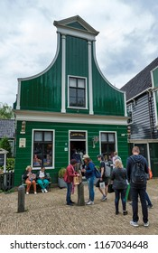 Zaandam,Holland,28-aug-2018:people at the first AH store at Zaanse Schans, famous for its historic windmills, at Zaandam, North Hollands, The Netherlands,albert heijn is now a very big multinational