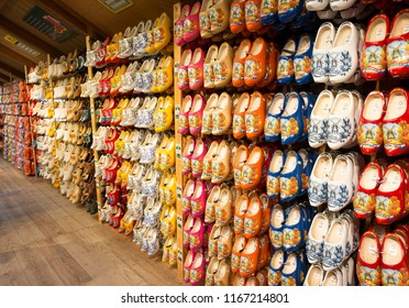 Zaandam,Holland,28-aug-2018:shop with all kinds of wooden shoes in zaandam in holland, zaandam is famous of its old dutch traditional houses and products like these wooden shoes