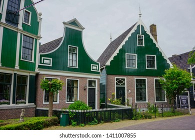 Zaanse Schans, Amsterdam - May 24 2019:  An old town in Zaanse Schans with a stretch shophouses.