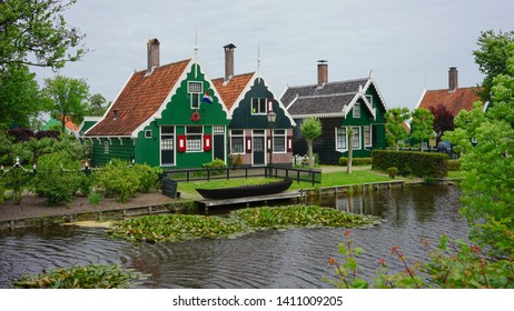 Zaanse Schans, Amsterdam - May 24 2019:  An old stretch shophouses by the canal in Zaanse schans,