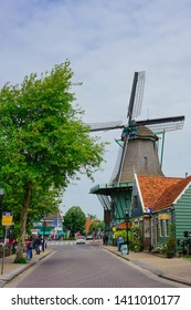 Zaanse Schans, Amsterdam - May 24 2019:  A road leading to an old town in Zaanse Schans.