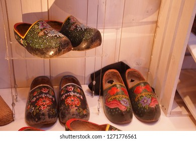 ZAANSE SCHANS,  NETHERLANDS - DEC 12, 2018 - Vintage Dutch wooden shoes in local muuseum of Zaanse Schans, Netherlands