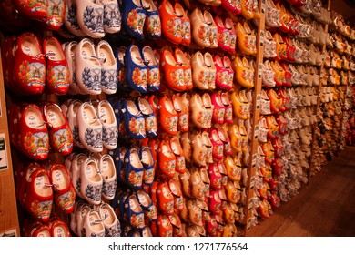 ZAANSE SCHANS,  NETHERLANDS - DEC 12, 2018 -  Dutch wooden shoes in local museum of Zaanse Schans, Netherlands