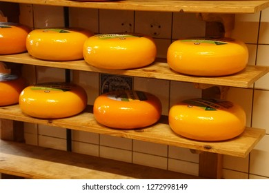 ZAANSE SCHANS,  NETHERLANDS - DEC 12, 2018 - Cheese processing in Zaanse Schans, Netherlands