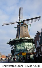 ZAANSE SCHANS,  NETHERLANDS - DEC 12, 2018 - 