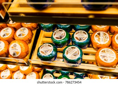 ZAANSE SCHANS, NETHERLANDS - DEC 31, 2017: Different sorts of cheese at the Farm Catharina Hoeve, a popular touristic attraction