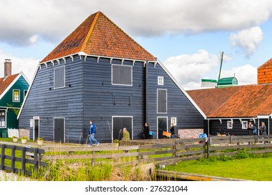ZAANSE SCHANS, NETHERLANDS - MAY 2, 2015: House in Zaanse Schans, Northe Holland, Netherlands. This village is a popular touristic destination in Netherlands