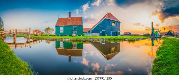 Zaanse Schans panorama at colorful spring sunset. Netherlands