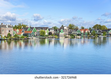 Zaanse Schans. Picturesque view of a Dutch village located at the river.