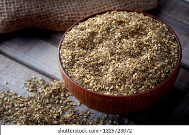Za'atar (zatar), Middle Eastern spice mixture in wooden bowl