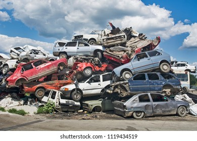 Zabalj, Serbia, Backa, June 23, 2018. Auto waste with lots of cars waiting for transportation