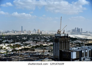Zabeel district from Dubai downtown area, Dubai, United Arab Emirates, January 21, 2019, view from boulevard plaza to Zabeel District until business bay bridge and two The Address Hotels by Emaar