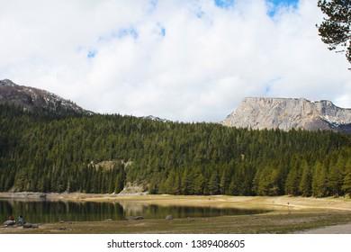 Zabljak, Montenegro - 4/28-2019: Beautiful Durmitor National Park. Meded peak, and Black Lake, Crno jezero, Zabljak, Montenegro