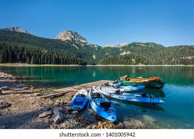 ZABLJAK, MONTENEGRO - AUGUST 8, 2017: Black Lake in Durmitor National Park