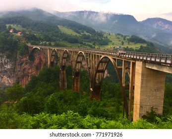 ZABLJAK, MONTENEGRO: Durdevica Tara Bridge, a concrete arch bridge over the Tara River in northern Montenegro.
