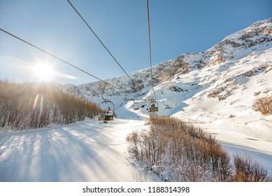 Zabljak, Montenegro- January 22, 2017: Ski lift in Zabljak Ski Resort in Montenegro