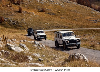 Zabljak,Montenegro - 18 october 2018 - Off-road vehicle on the mountain way,Off-road expedition