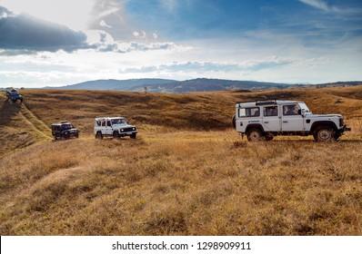 Zabljak,Montenegro - 21 October 2018 -jeep safari with land rover